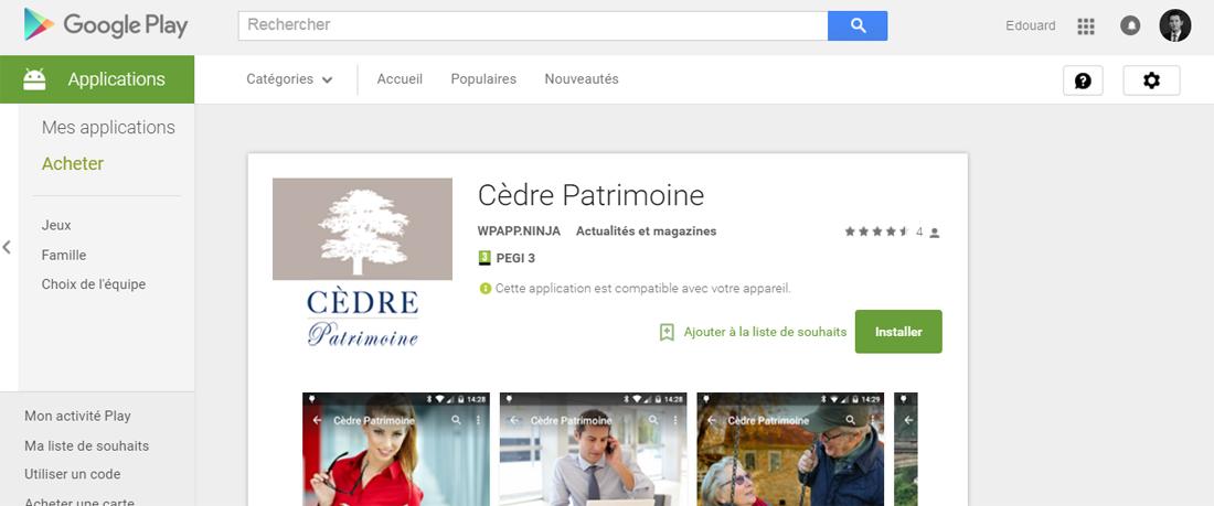 Application google android cedre gestionnaire de patrimoine