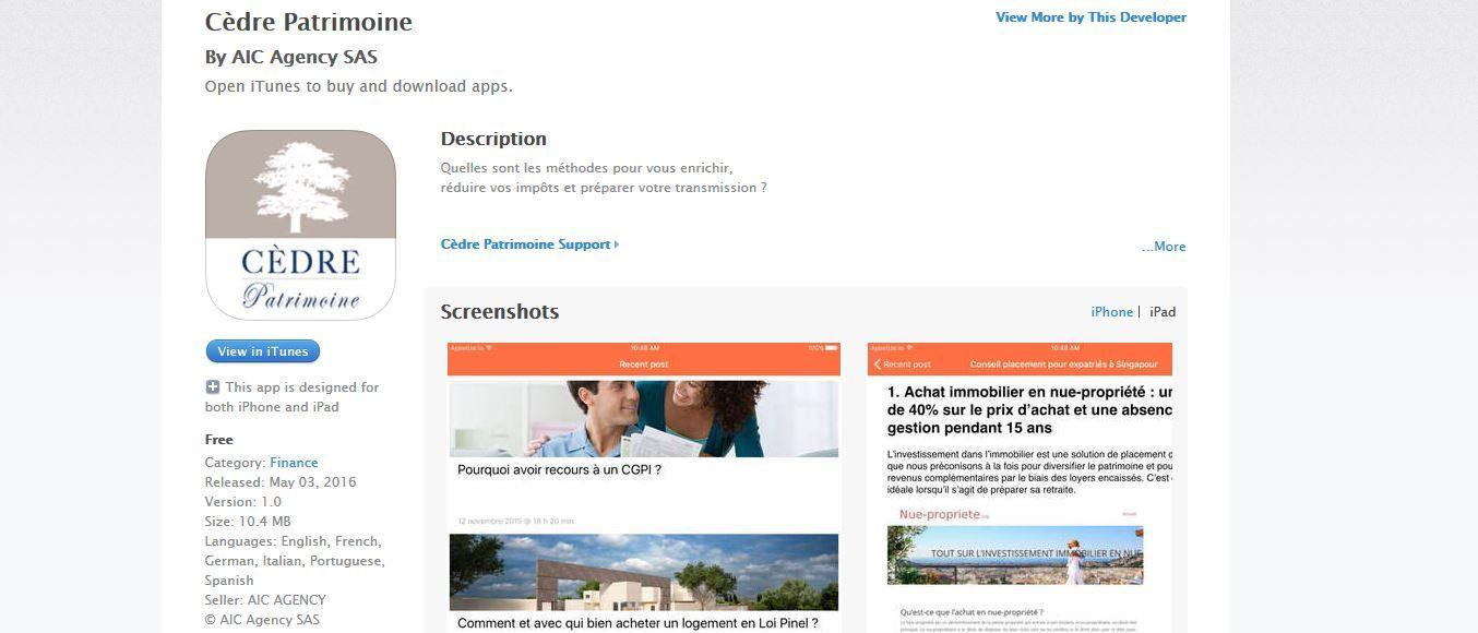 Application Apple iOS - Gestion patrimoine par Cedre